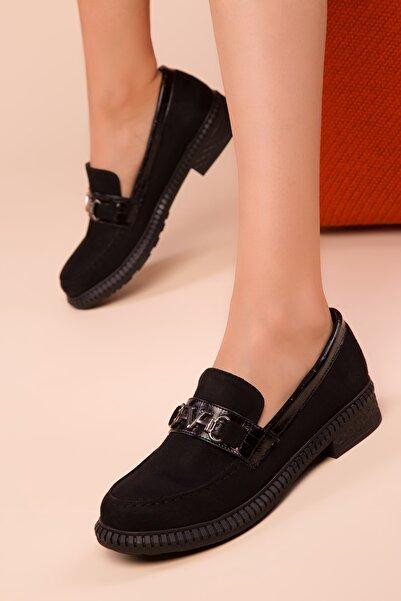 SOHO Siyah Süet Kadın Casual Ayakkabı 15485
