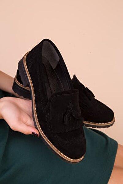 Siyah Süet Kadın Casual Ayakkabı 15473
