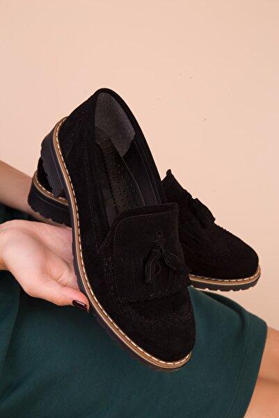SOHO Siyah Süet Kadın Casual Ayakkabı 15473