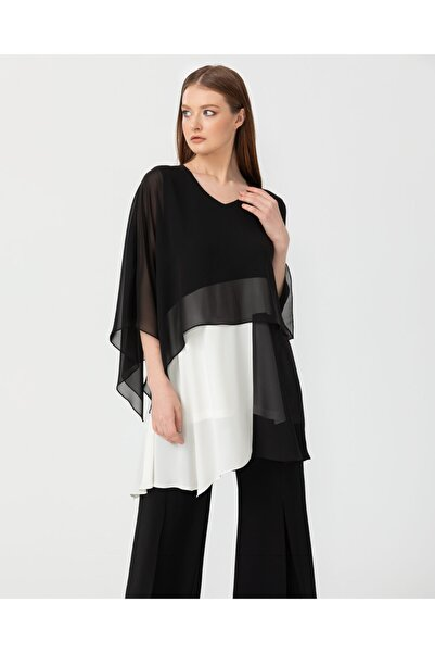 SEÇİL Kadın Siyah Katlı Şifon Bluz