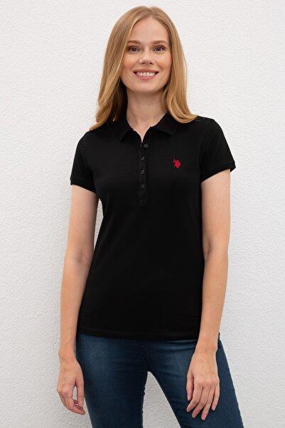 U.S. Polo Assn. Kadın Siyah Polo Yaka T-shırt
