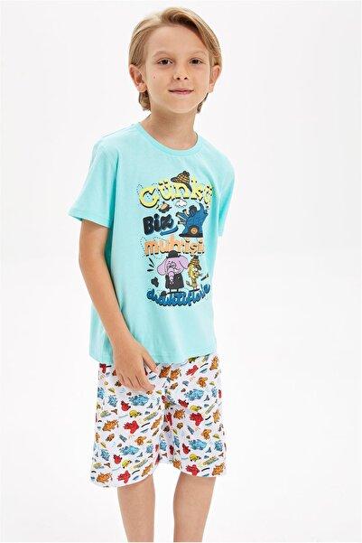 DeFacto Turkuaz Erkek Çocuk  Kral Şakir Lisanslı Pijama Takımı