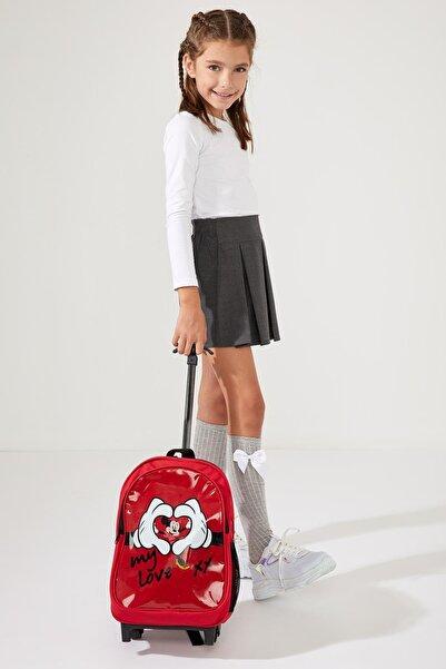 DeFacto Kız Çocuk Minnie Mouse Lisanslı Çekçekli Okul Çantası