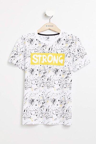 Beyaz Erkek Çocuk Baskılı T-shirt