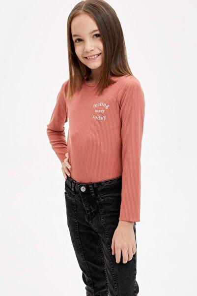 DeFacto Kız Çocuk Yazı Baskılı Tişört