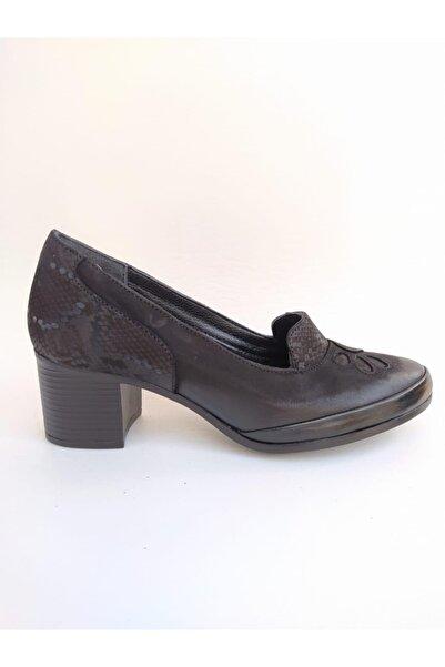 Venüs Kadın Siyah Topuklu Orjinal Deri Ayakkabı 1911922k