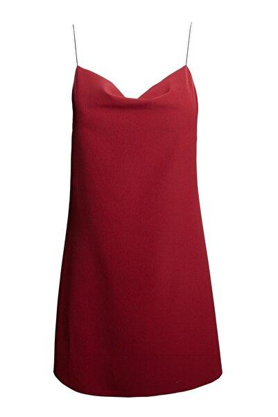 Keikei Kadın Kırmızı Askılı Mini Elbise