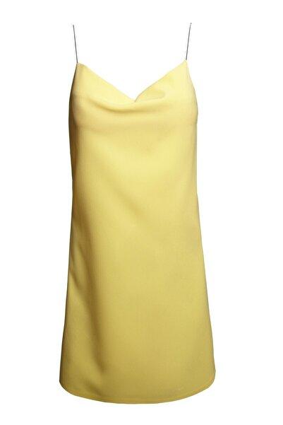 Keikei Kadın Sarı Askılı Mini Elbise