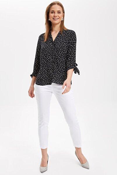 Kadın Kolları Bağlama Detaylı Çizgili Bluz J2835AZ.19SP.BK27