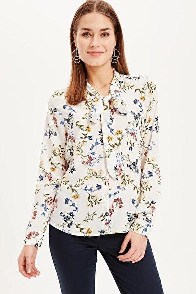 Kadın Çiçek Desenli Bağlama Yaka Detaylı Gömlek J6966AZ.19SP.ER105