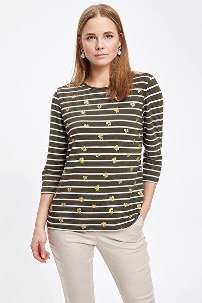 Kadın Haki Uzun Kollu T-shirt I4512AZ.19SP.KH211