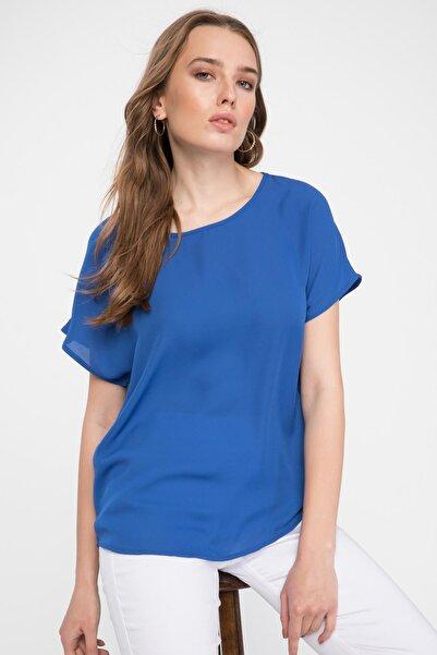 Kadın Mavi Krep Bluz G6035AZ.19SP.BE46