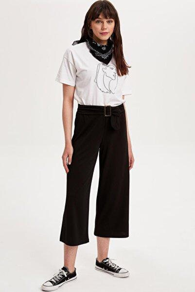 DeFacto Kadın Siyah Kemerli Culotte Pantolon L2584AZ.19SM.BK57