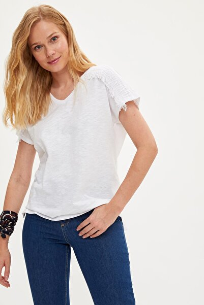 Kadın Ekru V Yaka T-shirt L5782AZ.19SM.ER65