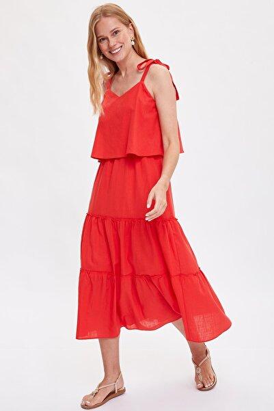 Kadın Kırmızı Askılı Uzun Elbise L8239AZ.19HS.RD1