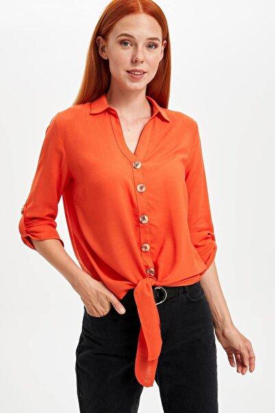 DeFacto Kadın Turuncu Bağlamalı V Yakalı Gömlek L2033AZ.19SM.OG126