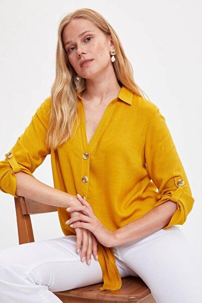 DeFacto Kadın Sarı Bağlamalı V Yakalı Gömlek L2033AZ.19SM.YL17