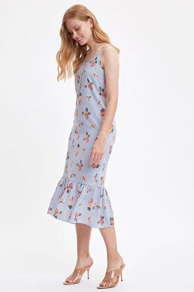 Kadın Mavi Askılı Çizgili Elbise M3625AZ.19HS.BE1