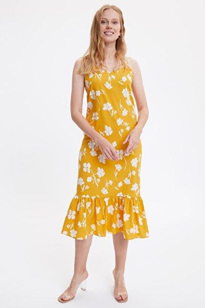 Kadın Sarı Askılı Çizgili Elbise M3625AZ.19HS.YL1