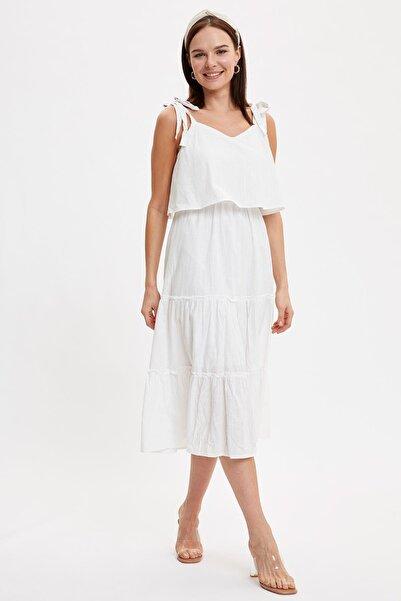 Kadın Beyaz Askılı Uzun Elbise L8239AZ.19HS.WT20