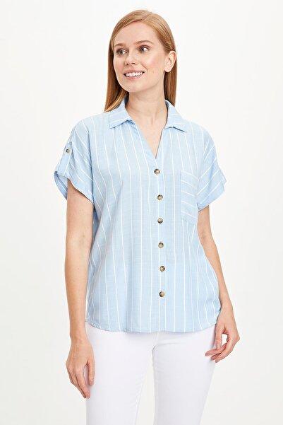 Kadın Mavi Çizgili Kısa Kollu Gömlek L6519AZ.19HS.BE551
