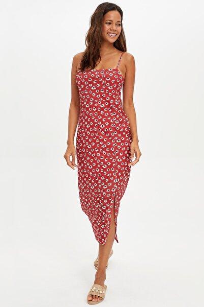 Kadın Kırmızı Desenli Askılı Uzun Elbise L6427AZ.19HS.RD29