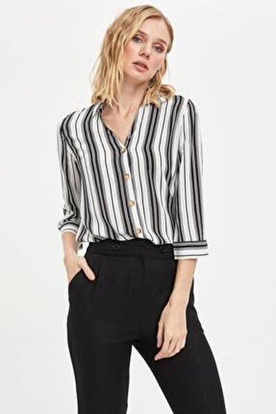Kadın Siyah Çizgili V Yakalı Gömlek K6402AZ.20SP.BK27