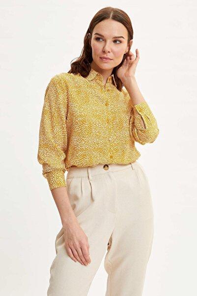 Kadın Sarı Desenli Gömlek I8266AZ.20SP.YL313