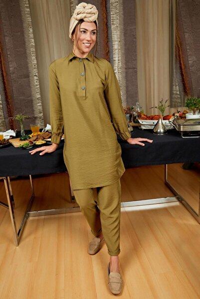 DeFacto Kadın Modest Yeşil Gömlek Yakalı Relax Fit Tunik L1355AZ.20SP.GN7