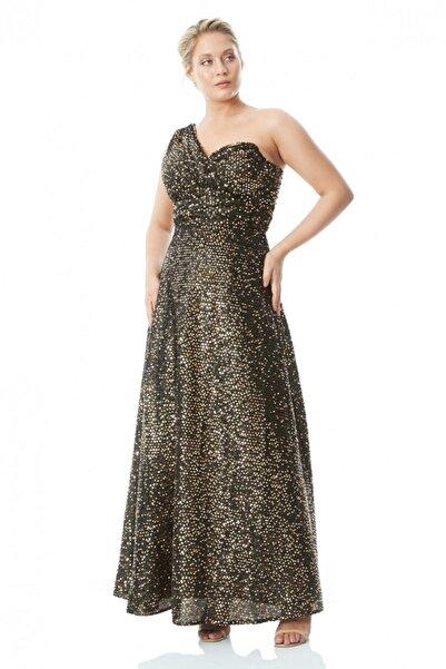 Keikei Kadın Altın Büyük Beden Pul Payet Tek Kol Uzun Elbise