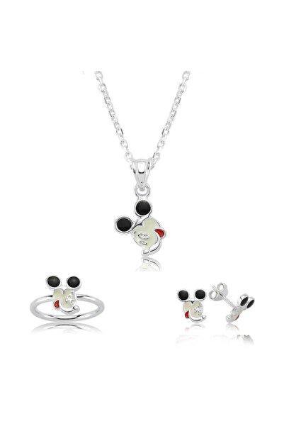 Gumush Kız Çocuk Beyaz Gümüş Miki Mouse Seti