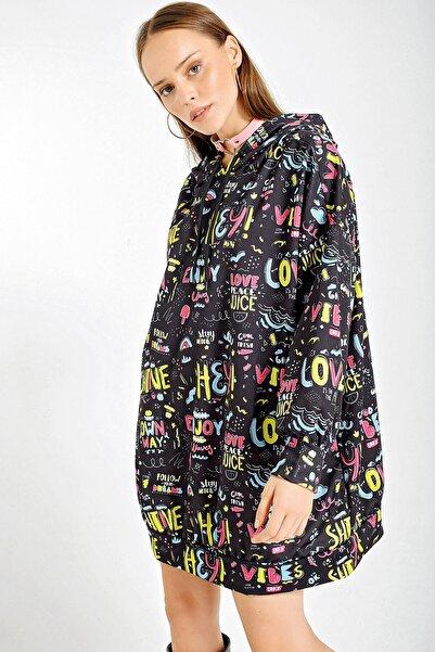 Bigdart Kadın Yeşil 4125 Grafik Desenli Oversize Sweat Elbise 4125Bgd19
