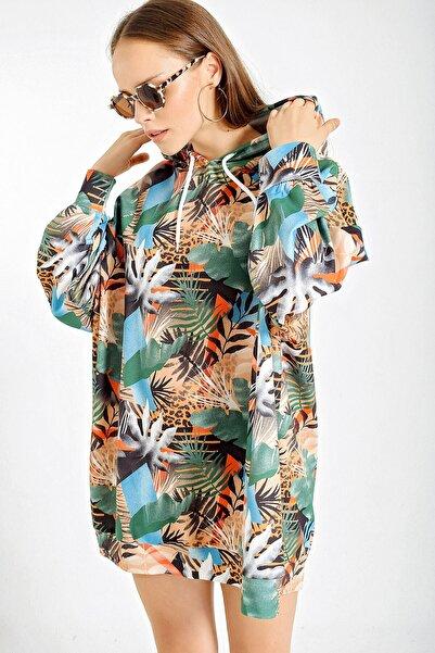 Bigdart Kadın Yaprak Dsn Yeşil 4125 Grafik Desenli Oversize Sweat Elbise 4125Bgd19