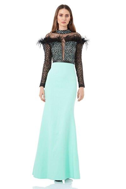 Keikei Kadın Su Yeşili Krep Uzun Kol Abiye Elbise