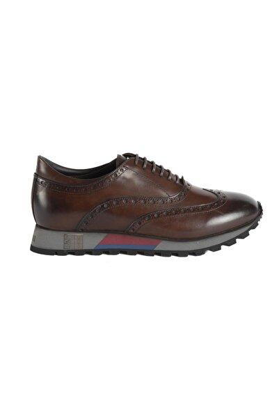 ALBERTO GUARDIANI Erkek Kahverengi Hakiki Deri Sneaker Ayakkabı