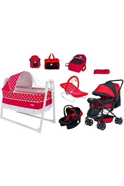 Baby Kırmızı Clasis Bebek Arabası Sallanır Bebek Beşiği 8 li Set
