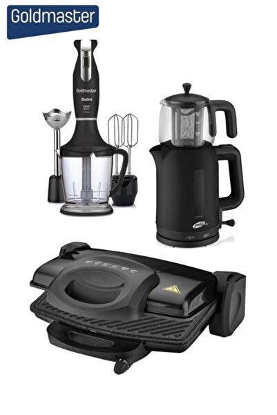GOLDMASTER Masal Siyah 3'lü Çeyiz Seti (çaycı + Tost Mak + Blender)