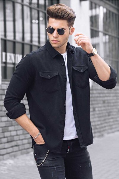 Madmext Erkek Siyah Basic Gömlek