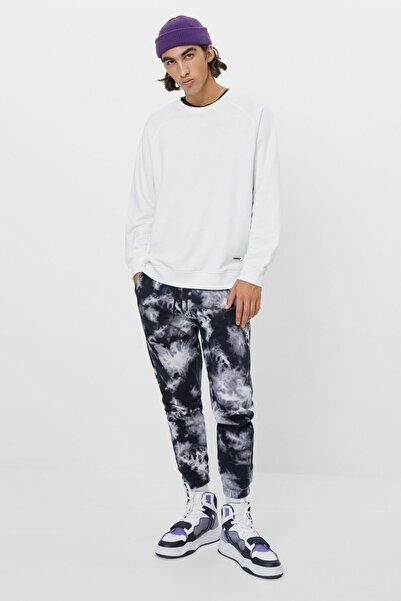 Bershka Kadın Siyah Batik Desenli Pantolon