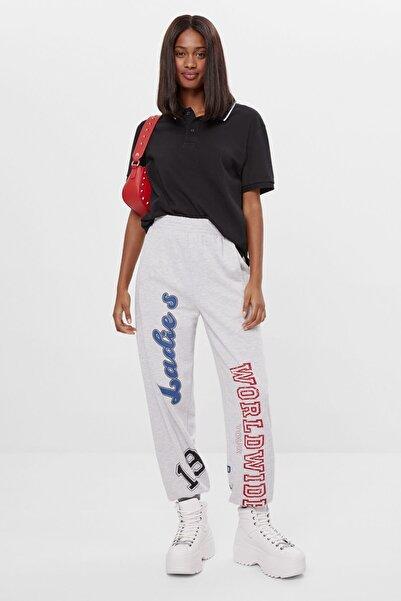 Bershka Kadın Gri Desenli Jogger Pantolon