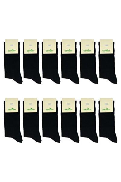 Zirve Erkek Siyah Bambu Soket Çorap 12 Li