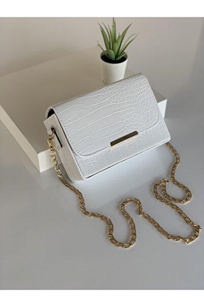 Adox Çanta Kadın Beyaz Kroko Desenli Kutu Omuz Çantası