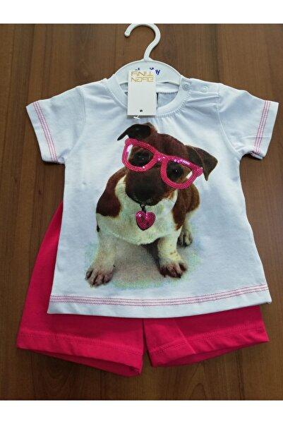 Abentiny Kız Çocuk Pembe Köpek Baskılı Şortlu Takım 7395