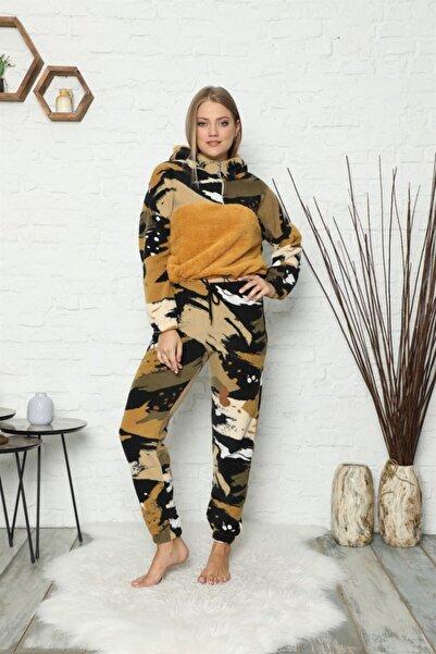 ARCAN Polar Yarım Fermuarlı Pelüş Detaylı Kapşonlu Manşetli Ve Lastikli Pijama Takımı