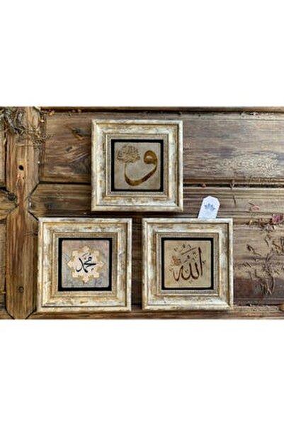 Çerçeveli Taş Duvar Dekoru 20 X 20 Cm 3 Lü Vav Allah Muhammed