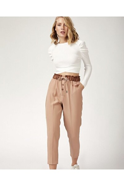 Mia Kadın Kahverengi Beli Büzgülü Pantolon