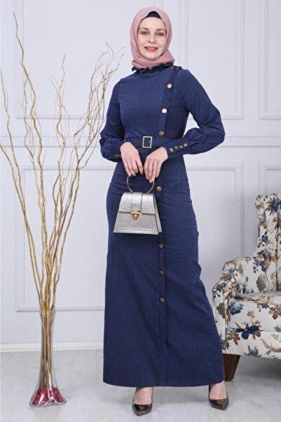 Modamihram Kadın  Lacivert Düğmeli Kadife Tesettür Elbise