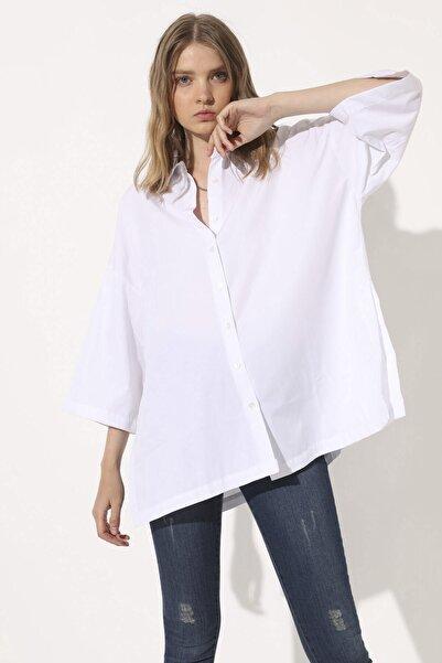 Arma Life Kadın Beyaz Poplin Oversize Gömlek