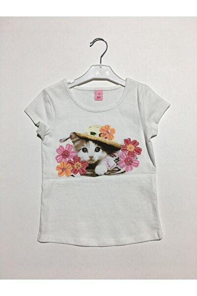 Adams Kız Çocuk Ekru Kedicik Tişört