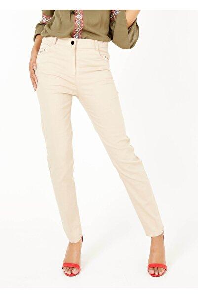 Adze Kadın Bej Slim Fit Likralı Pantalon Bej